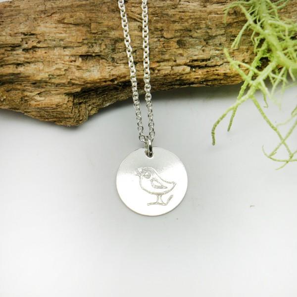Pendentif minimaliste en argent massif 925/1000 avec motif oiseau chaine ajustable MIN 25,00€