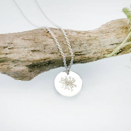 Sterling silver minimalist adjustable necklace with flower MIN 25,00€
