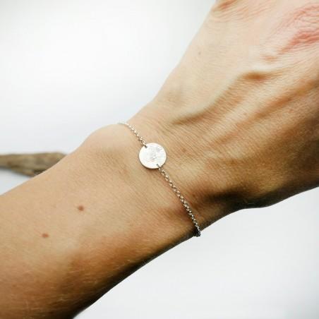 Bracelet fleurs des champs minimaliste en argent massif 925/1000 longueur réglable, bracelet femme chaine ajustable Desiree S...