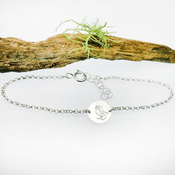 Bracelet oiseau minimaliste en argent massif 925/1000 longueur réglable, bracelet femme chaine ajustable Accueil 25,00€