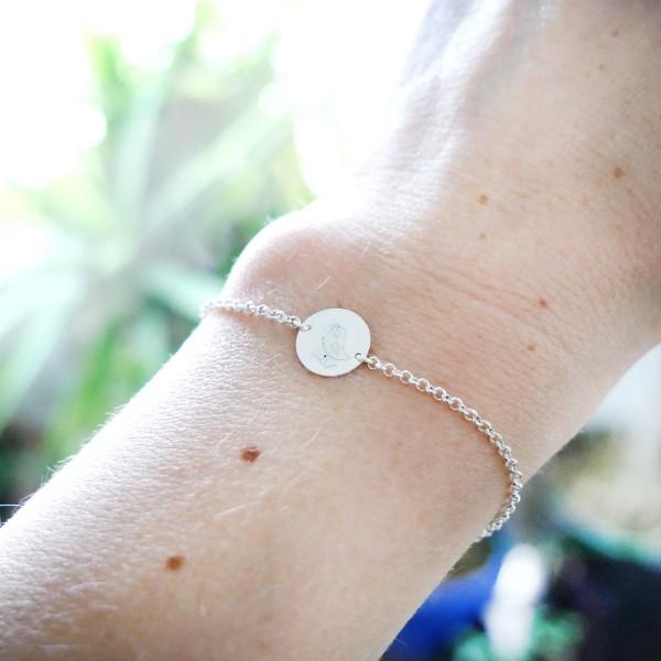 Bracelet oiseau minimaliste en argent massif 925/1000 longueur réglable, bracelet femme chaine ajustable Desiree Schmidt Pari...