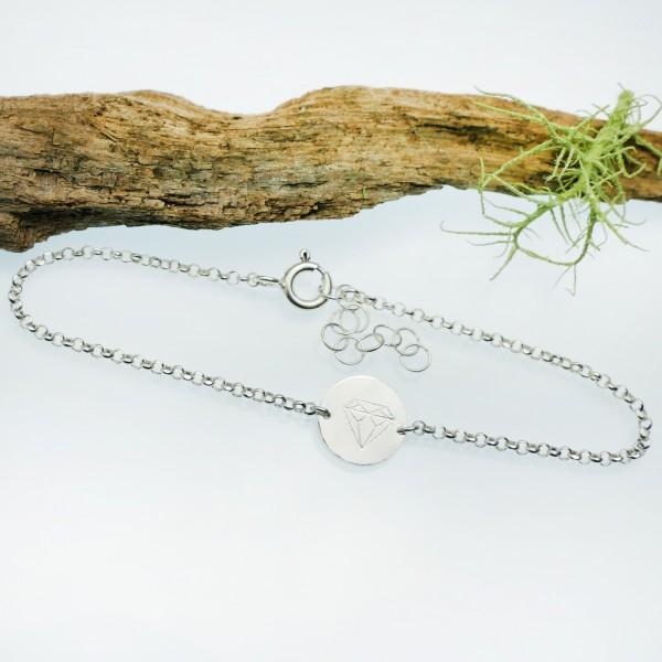 Bracelet diamant minimaliste en argent massif 925/1000 longueur réglable, bracelet femme chaine ajustable Desiree Schmidt Par...