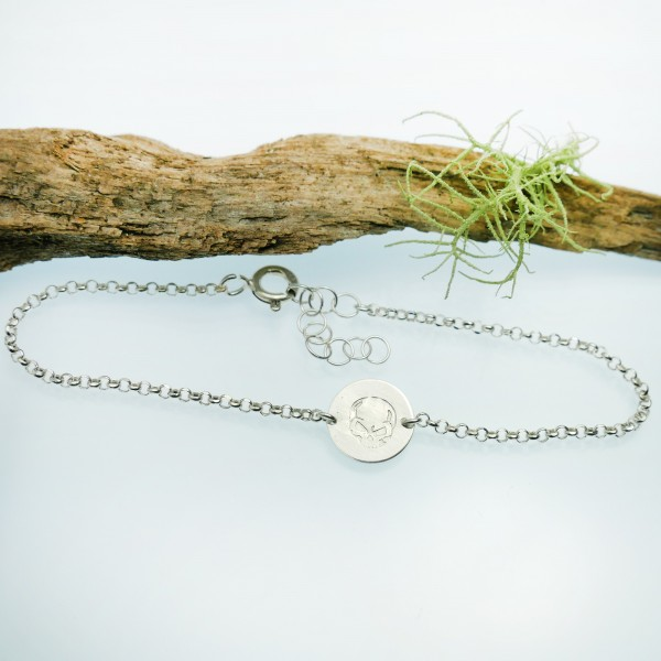 Bracelet tête de mort minimaliste en argent massif 925/1000 longueur réglable, bracelet femme chaine ajustable Desiree Schmid...
