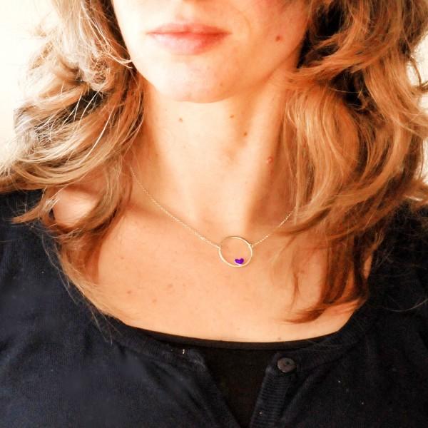 Collier en argent 925/1000 coeur Valentine violet chaine ajustable Valentine 47,00€