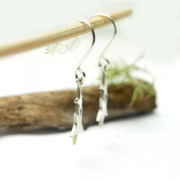 Boucles d'oreilles en argent massif 925/1000 pendantes étoile minimalistes, boucles d'oreilles femme argent étoile légère Ac...