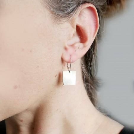 Bubble square dangling earrings in 925/1000 silver Bubble 75,00€