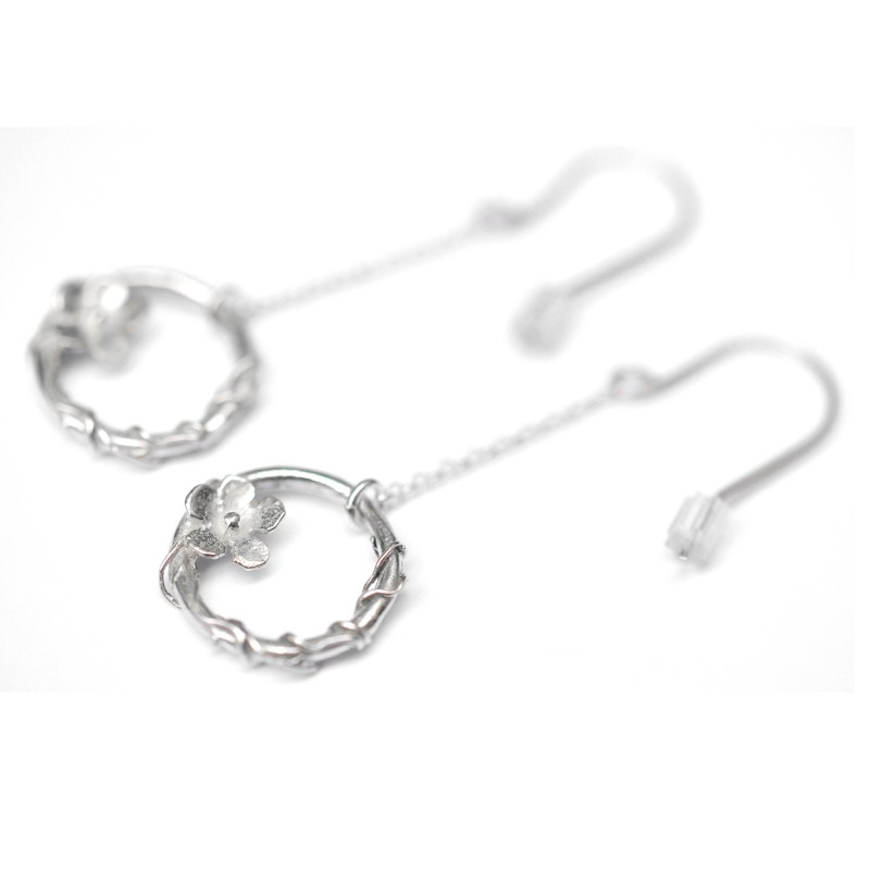 Sakura flower pendant earrings. Sterling silver.  Sakura 77,00 €