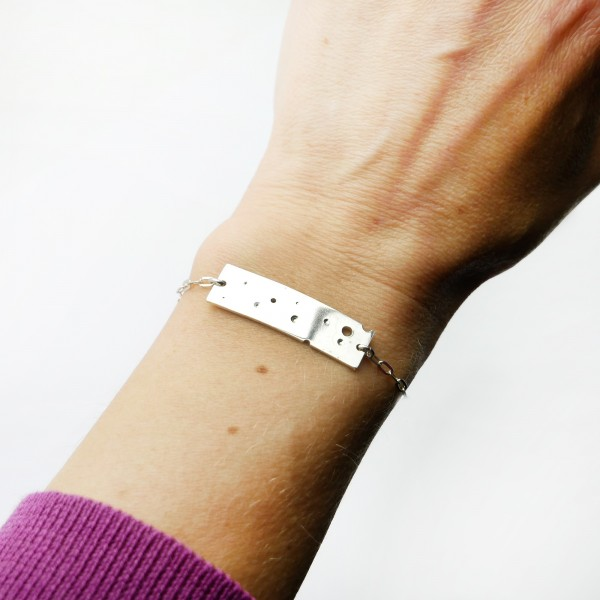 Sterling silver rectangular curb bracelet Bulles collection Bubble 65,00 €
