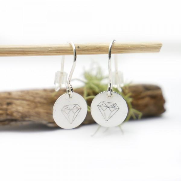 Minimalistische lange Sterling Silber Ohrringe mit Diamant Motiv Ohrringe 27,00€