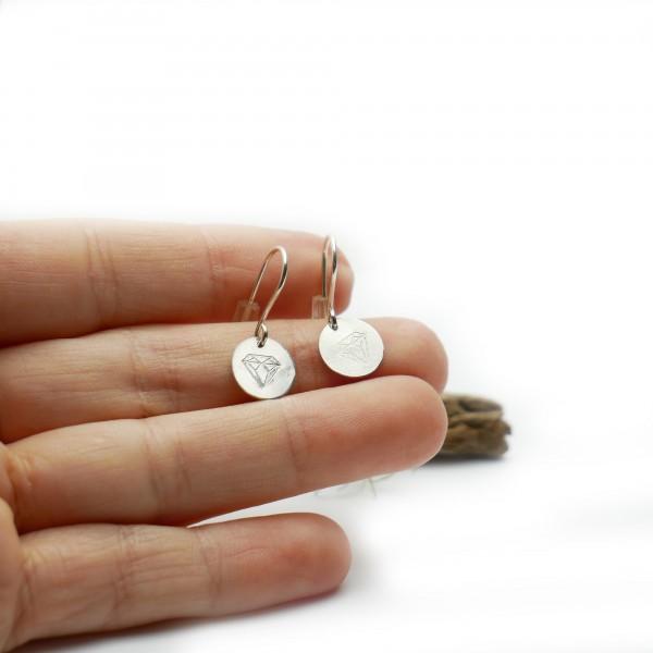 Sterling silver minimalist pendent earrings with diamond motive Earrings 27,00€
