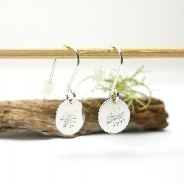 Sterling silver minimalist pendent earrings with drosea motive Earrings 27,00€