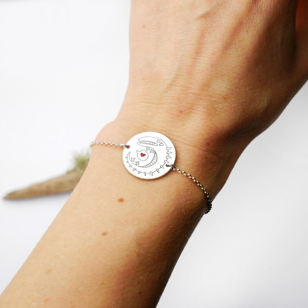 Krokodil und Herz verstellbar 925/1000 Sterling Silber Armband Einzelstucke une kleine Serien 65,00€
