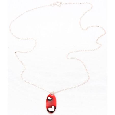 Collier coeur Valentine oval en argent massif et résine rouge Valentine 65,00€