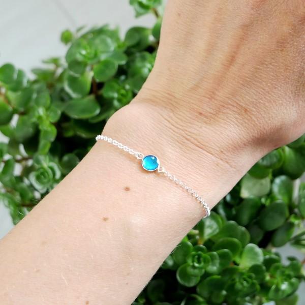 Bracelet en argent massif 925/1000 et résine bleu azur longueur réglable Accueil 25,00€