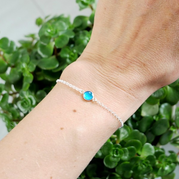 Bracelet in sterling silver 925/1000 and azure blue resin adjustable length Home 25,00 €
