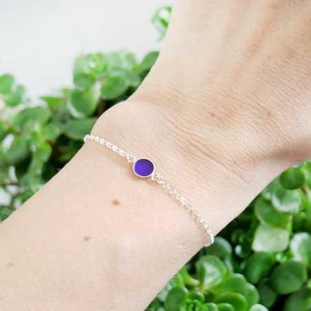 Bracelet in sterling silver 925/1000 and azure blue resin adjustable length Desiree Schmidt Paris Home 25,00€