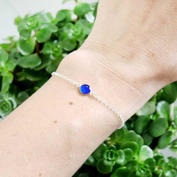 Bracelet en argent massif 925/1000 et résine bleu électrique longueur réglable Accueil 25,00€
