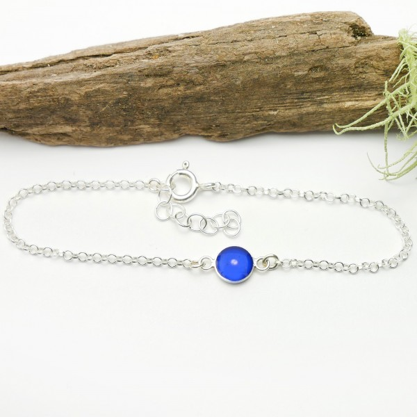 Bracelet en argent massif 925/1000 et résine bleu électrique longueur réglable Desiree Schmidt Paris Accueil 25,00€