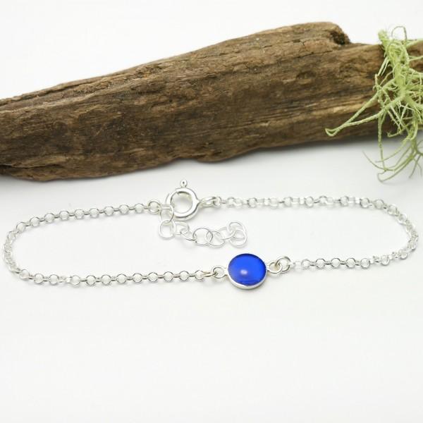 Bracelet in sterling silver 925/1000 and electric blue resin adjustable length Desiree Schmidt Paris Home 25,00€