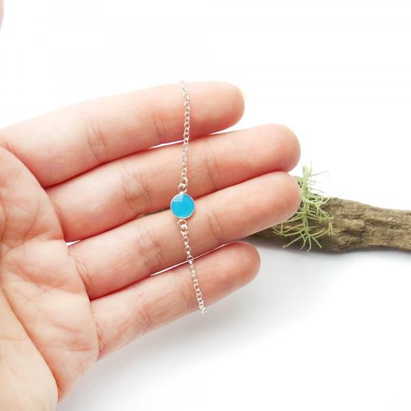 Bracelet en argent massif 925/1000 et résine bleu lagon longueur réglable Accueil 25,00€