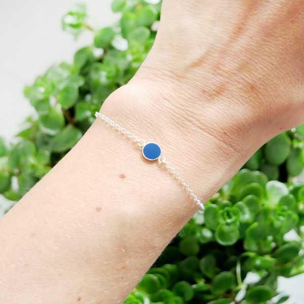 Bracelet en argent massif 925/1000 et résine bleu pervenche longueur réglable Accueil 25,00€