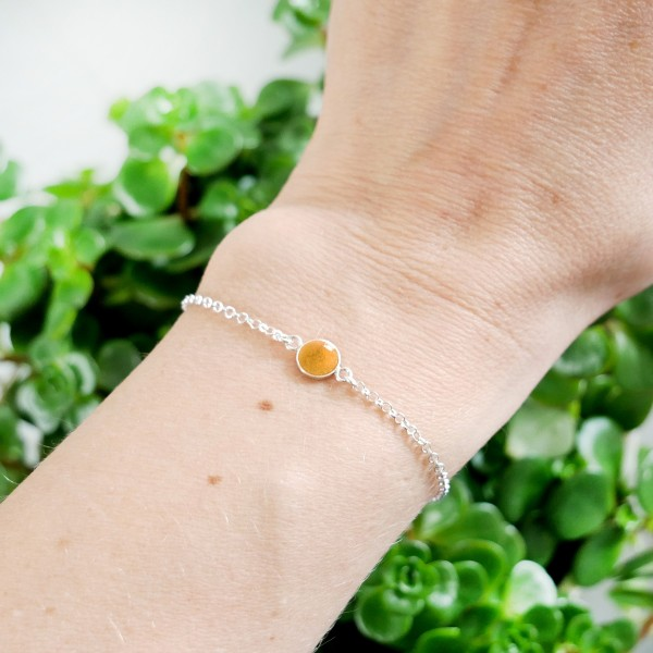 Bracelet in sterling silver 925/1000 and golden yellow resin adjustable length Desiree Schmidt Paris Home 25,00€