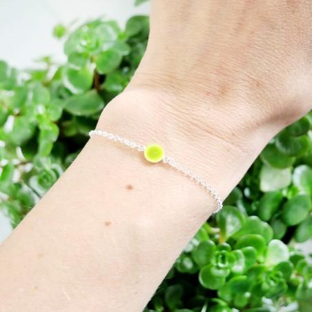 Bracelet en argent massif 925/1000 et résine jaune fluorescent longueur réglable Desiree Schmidt Paris Accueil 25,00€
