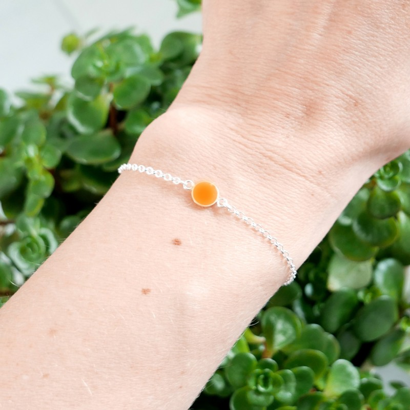 Bracelet in sterling silver 925/1000 and fluorescent orange resin adjustable length Desiree Schmidt Paris Home 25,00€