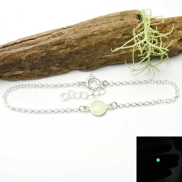 Bracelet in sterling silver 925/1000 and phosphorescent resin adjustable length Home 25,00 €