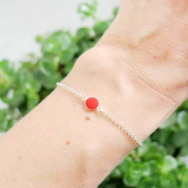 Bracelet en argent massif 925/1000 et résine rouge coquelicot longueur réglable Accueil 25,00€