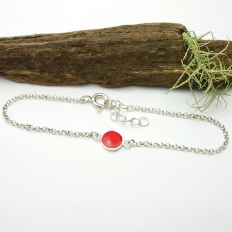 bracelet en argent 925/1000 avec deux petites fleurs des champs
