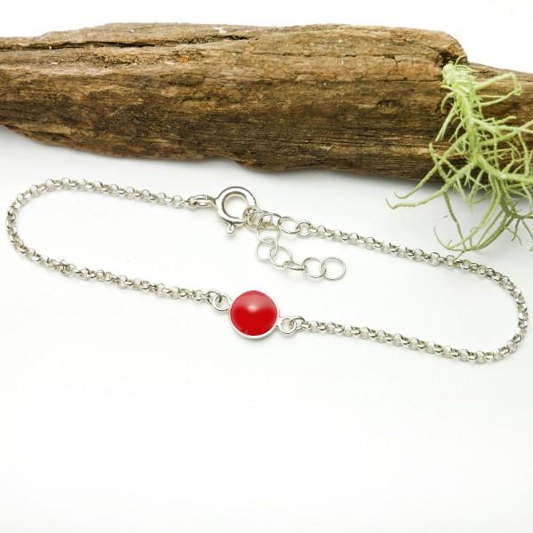 Bracelet en argent massif 925/1000 et résine rouge coquelicot longueur réglable Desiree Schmidt Paris Accueil 25,00€