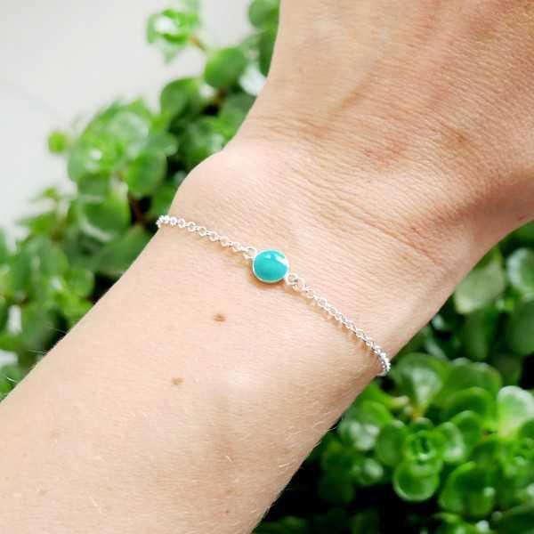 Bracelet en argent massif 925/1000 et résine turquoise longueur réglable Accueil 25,00€
