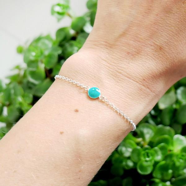 Bracelet en argent massif 925/1000 et résine turquoise longueur réglable Desiree Schmidt Paris Accueil 25,00€