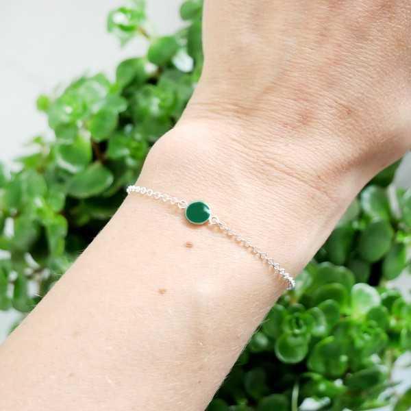 Bracelet en argent massif 925/1000 et résine vert forêt longueur réglable Accueil 25,00€