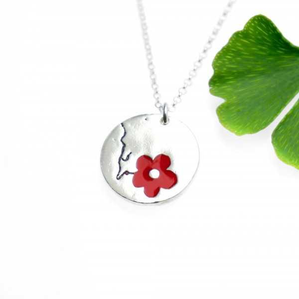 Minimalist necklace red flower silver 925 made in France Desiree Schmidt Paris Cherry Blossom 57,00€