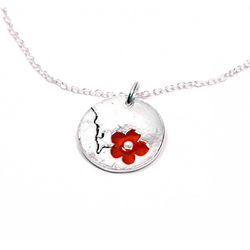 Woman necklace silver 925 red flower made in France Desiree Schmidt Paris Cherry Blossom 57,00€