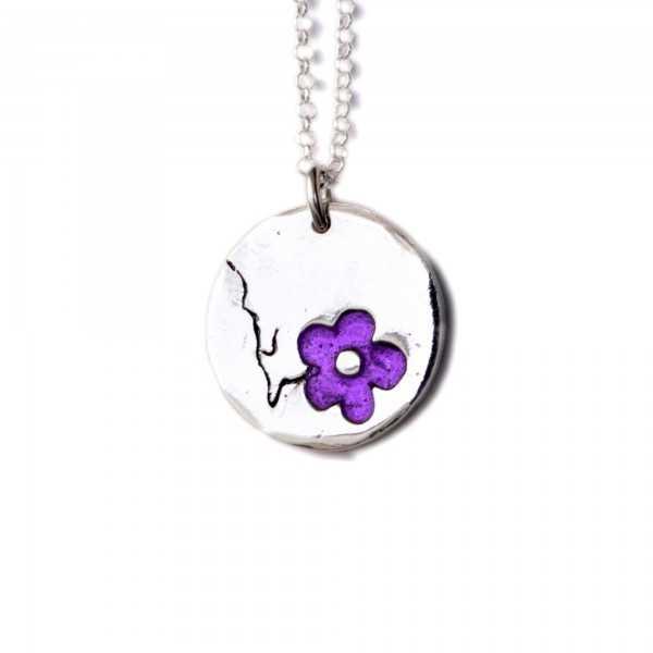 Minimalist necklace purple flower silver 925 made in France Desiree Schmidt Paris Cherry Blossom 57,00€