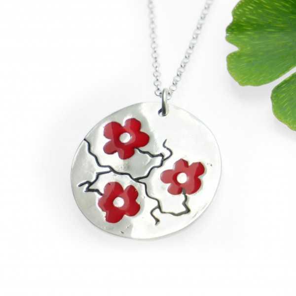 Minimalist red sakura pendant in 925 silver made in France Desiree Schmidt Paris Cherry Blossom 77,00€