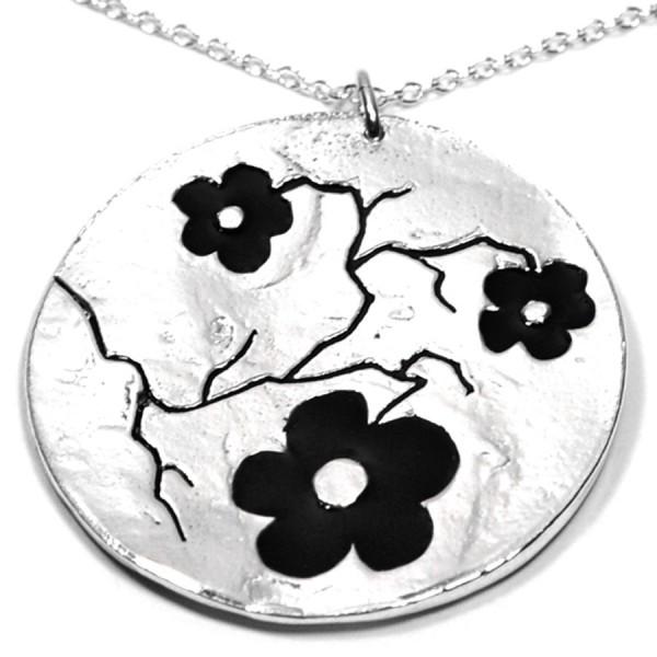 Minimalist black sakura big pendant in 925 silver made in France Desiree Schmidt Paris Cherry Blossom 107,00€