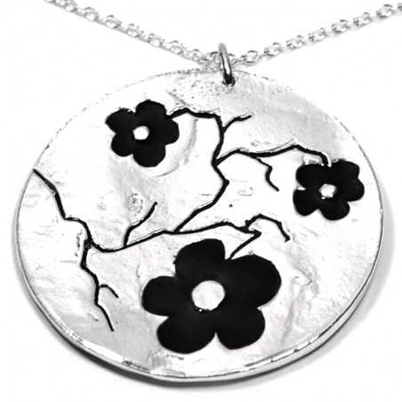 Big pendant on 925/1000 silver black flowers chain made in France Desiree Schmidt Paris Cherry Blossom 107,00€