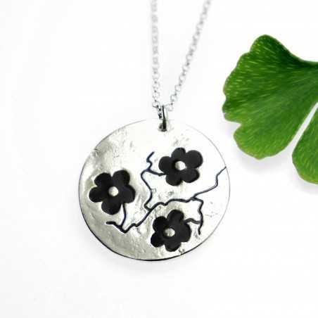 Minimalist necklace black flower silver 925 made in France Desiree Schmidt Paris Cherry Blossom 77,00 €