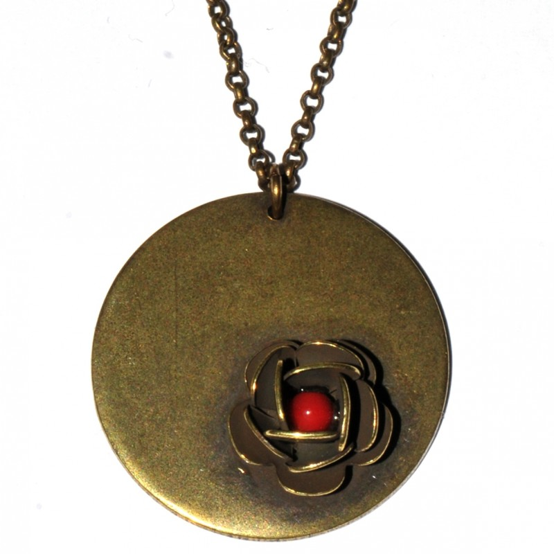 Round Rose ajustable necklace. Aged Bronze.  Rose 39,00 €