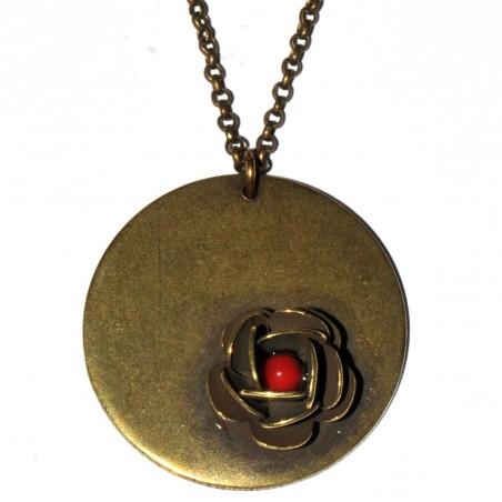 Round pendant on adjustable chain Rose in aged bronze Desiree Schmidt Paris Rose 39,00€