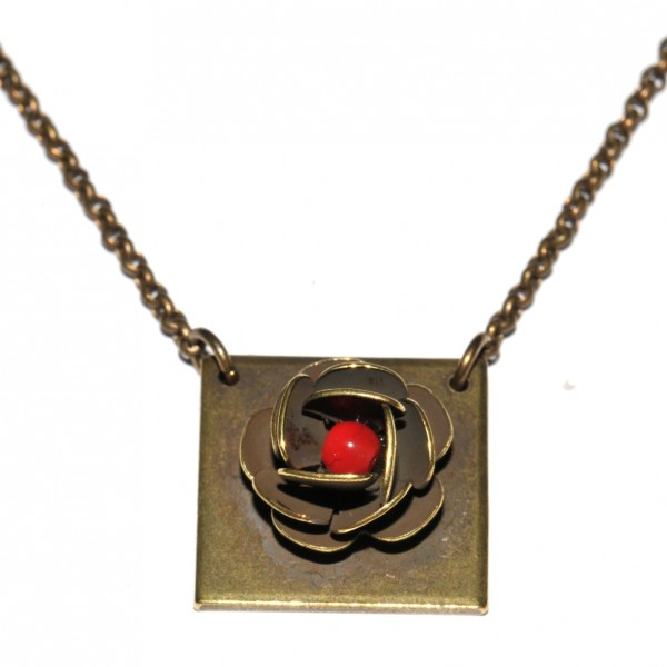 Square adjustable chain necklace Rose in aged bronze Desiree Schmidt Paris Rose 39,00 €