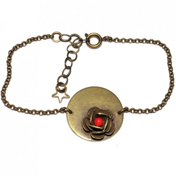 Rose round bracelet with red pearl in aged bronze Rose 35,00 €