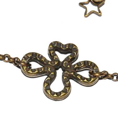 Grand collier rond Rose en bronze vieilli