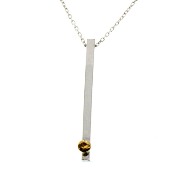 Sterling silver adjustable necklace with 24 carat gold drop from the Rain Drop collection Desiree Schmidt Paris Rain drop 107...