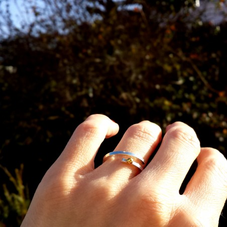 Verstellbarer Ring aus Sterling Silber u. 24 Karat Gold  Regentropfen 97,00€
