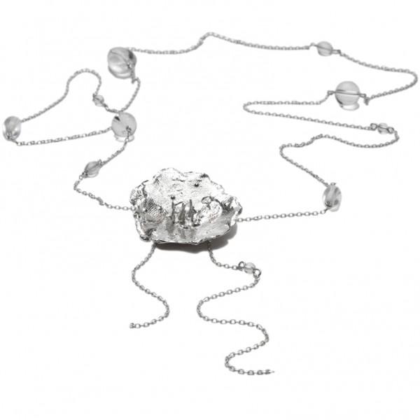 Kleine Wiesenblume lange Halskette in 925/1000 Silber Ketten 175,00€